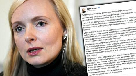 Sisäministeri Maria Ohisalo linjasi Facebookissa kannabiksen käytön rangaistavuudesta.