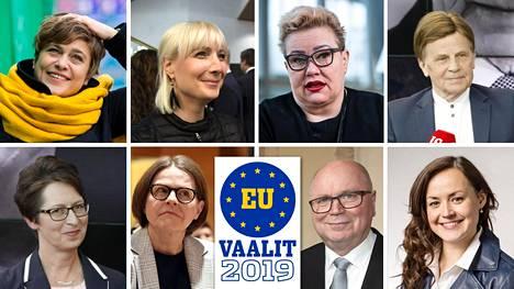 Tentissä vastakkain Silvia Modig (vas. yläkulma), Laura Huhtasaari, Sirpa Pietikäinen, Mauri Pekkarinen, Sari Essayah (vas. alakulma), Heidi Hautala, Eero Heinäluoma sekä Silja Borgarsdóttir Sandelin.