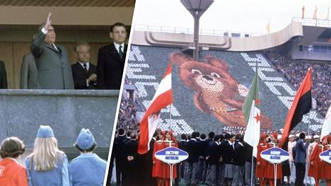 Leonid Brezhnev ja Miska-karhu tervehtivät kansaa Moskovan olympialaisten avajaisissa.