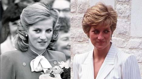 Prinsessa Diana vuonna 1984 ja 1990.