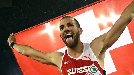Kariem Hussein juhli EM-kultaa Zürichissä 2014.