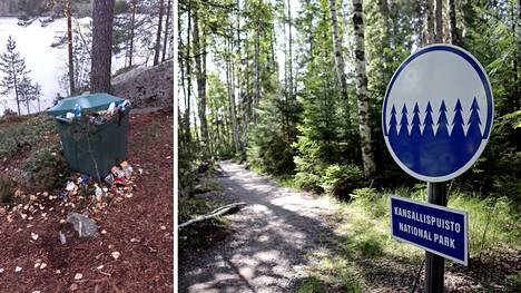 Viime vuonna roskalaatikot tursusivat yli Etelä-Konneveden kansallispuistossa.
