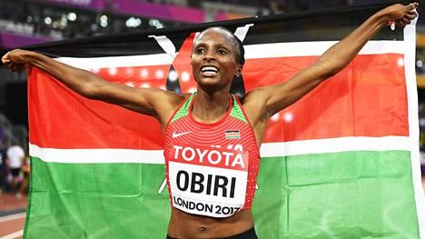 Hellen Onsando Obiri juhlii MM-kultaa.
