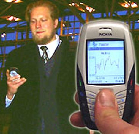 Pekka Abrahamsson ja pörssikurssit kertova sovellus.
