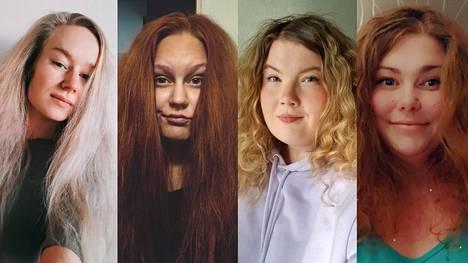 Vivi, Jessica, Eveliina ja Tuula tietävät, ettei luonnonkiharaa tukkaa kannata harjata kuivana.