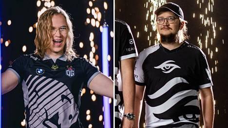 """Topias """"Topson"""" Taavitsainen (vasemmalla) ja Lasse """"MATUMBAMAN"""" Urpalainen ovat molemmat maailmanmestareita. Heidän joukkuensa kohtaavat pudotuspelien avauskierroksella."""