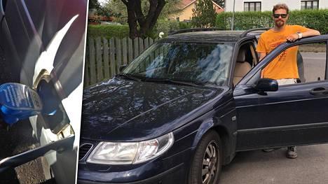 Hyvinkääläinen perheenisä Mikko kertoo tehneensä muutostyöt omistamaansa vuosimallia 2003 olevaan Saab 95:een.
