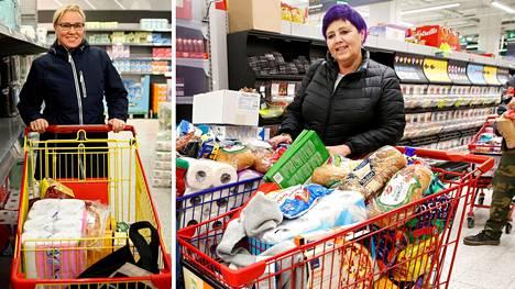 Rita Laatikainen (vas.) ei saanut mukaansa makaronia. Tuula Kellokosken kauppareissulla ostoksista täyttyi kaksi kärryä.