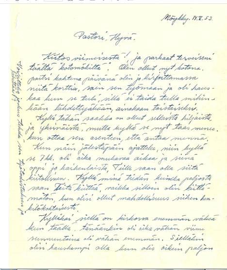 Tämän kirjeen Kyllikki Saari lähetti pastorille. Kirje on päivätty 14.5. 1953. Vain hieman myöhemmin, 17. 5. 1953, Kyllikki katosi kotimatkalla.