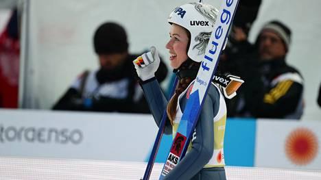 Juliane Seyfarth juhli kahta MM-kultaa Seefeldin MM-kisoissa 2019.