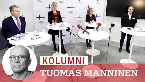 Olympiakomitean puheenjohtajaehdokkaat kuulemistilaisuudessa Urheilumuseossa.