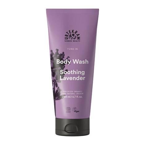 Urtekramin Soothing Lavender -suihkugeeli sisältää runsaasti kosteuttavia ainesosia ja tuoksuu miellyttävän miedosti laventelille, 5,90 € / 300 ml.