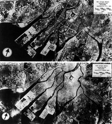 Huhtikuu 1945 ja elokuu 1945, ennen ja jälkeen ydintuhon. Pommi räjähti noin 600 metrin korkeudessa Hiroshiman keskustasta.
