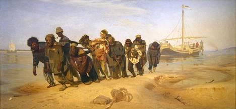 Volgan lautturit (1870-1873) on Ilja Repinin väkevä läpimurtoteos suuren yleisön tietoisuuteen. Maalaus koettiin yhteiskunnallisena analyysinä. Radikaalit pitivät sitä kehotuksena toimintaan, vanhoilliset näkivät sen kumouksellisena.