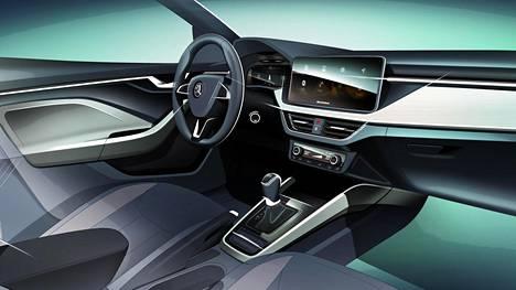 Luonnoksen perusteella Škoda Scalan kojelauta näyttää huomattavan futuristiselta.