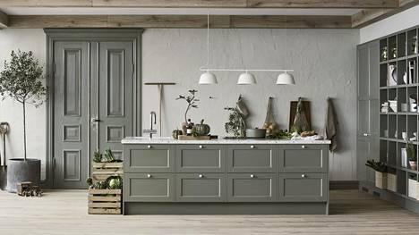 Luonnosta inspiraationsa värit ovat nyt trendikkäitä. Petra-keittiöiden ovimalli on nimeltään Eerika. Taso on marmorijäljitelmäistä laminaattia.