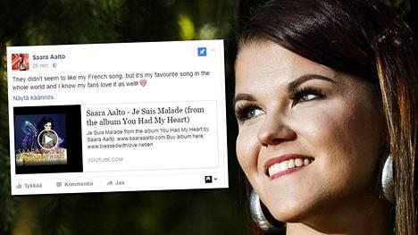 Saara Aalto kommentoi putoamistaan Facebookissa.