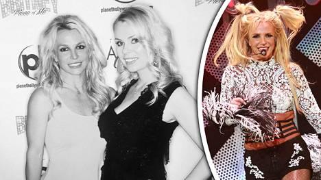 Riikka Ikäheimo tapasi Britney Spearsin (vas.) Las Vegasissa laulajattaren konsertin yhteydessä. Kuva oikealla: Britney Spears esiintyi Los Angelesissa viime vuonna.