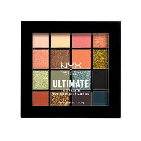 Nyx Professional Makeup Ultimate Shadow Palette -luomiväripaletissa on sekä salvianvihreään trendiin että muihinkin syksyn luomivärihitteihin sopivia sävyjä, 23,50 €.