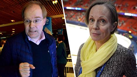 Taitoluisteluseura Helsingfors Skridskoklubbin (HSK) uusi puheenjohtaja Mikael Nyberg (vas.) ja taitoluisteluliiton uusi puheenjohtaja Laura Raitio.