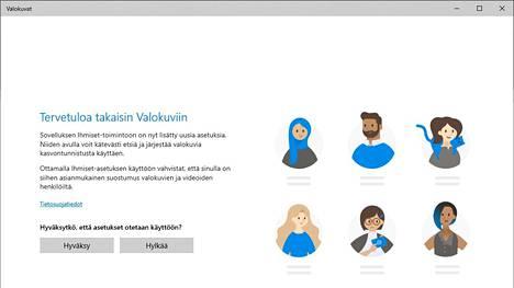 Uusimman päivityksen myötä Microsoft pyytää lupaa kasvontunnistuksen käyttöön ja sanoo, että kuvassa näkyvältä ihmisiltä olisi pyydettävä lupa.