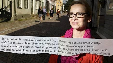 Eva Kyrklund sai diagnoosin liha-allergiasta.