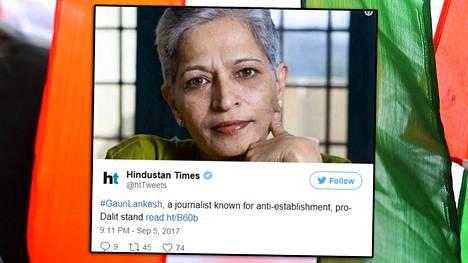 Gauri Lankesh oli tunnettu kasvo Intiassa.