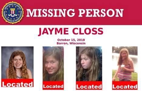 Tällä ilmoituksella liittovaltion poliisi FBI etsi Jaymea.