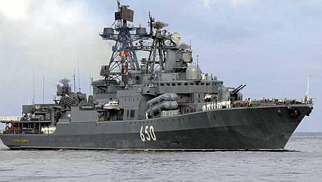 Venäläinen ohjushävittäjä Admiral Tshabanenko on matkalla Syyriaan. Kuvassa alus laivastovierailulla Kuubassa.