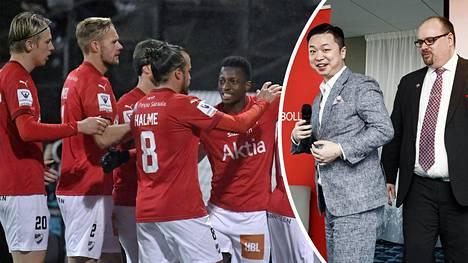 HIFK Fotboll Ab:n toimitusjohtaja Christoffer Perret (oik.) ja pääomistaja Lucas Chang Jin (Perretin vieressä) neuvottelevat edustusjoukkueen rahoituksesta.