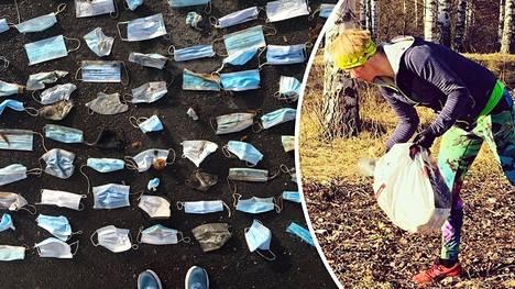 Kaisu Paulanto on kerännyt valtavan määrän maskeja luonnosta.