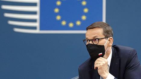 Puolan pääministeri Mateusz Morawiecki EU-huippukokouksessa Bryselissä 24. kesäkuuta.
