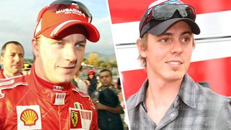 Kimi Räikkönen ja Jasper Pääkkönen kuvattuna Italian Mugellossa 2007.