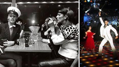 Aira Samulin (oik.) futuristidiskossa vuonna 1981. John Travolta ja Saturday Night Fever nostattivat diskohuumaa.