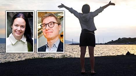 """Taloussanomat kysyi varallisuusvalmentaja Terhi Majasalmelta (vas.) ja Nordean yksityistalouden ekonomistilta Olli Kärkkäiseltä, mitä pitäisi tehdä, jotta voisi aikaistaa """"eläkkeelle"""" jäämistä."""