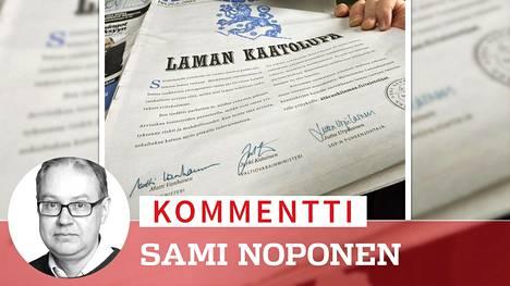 Pääministeri Matti Vanhanen, valtiovarainministeri Jyrki Katainen ja Sdp:n puheenjohtaja Jutta Urpilainen osallistuvat yhdessä allekirjoituksillaan lamakampanjaan Kauppalehden etusivulla 26. tammikuuta 2009.