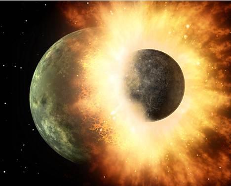 Arkistokuva planeettojen törmäyksestä.