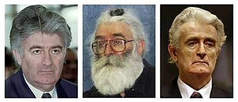 Radovan Karadcizin kolmet kasvot: Serbijohtajana vuonna 1996, valeasussa julkisuudelta piilossa ja Haagin sotarikostuomioistuimessa viime viikolla.