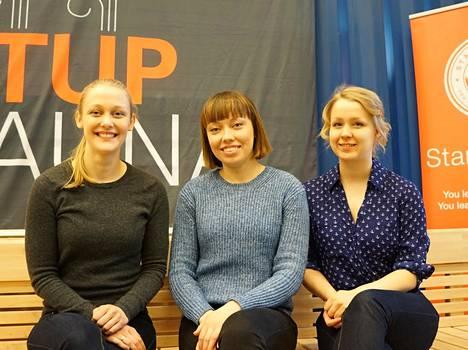 Siiri Hakulinen (vas), Erika Noponen ja Eeva Siika-aho pyörittävät Startup Life -ohjelmaa.