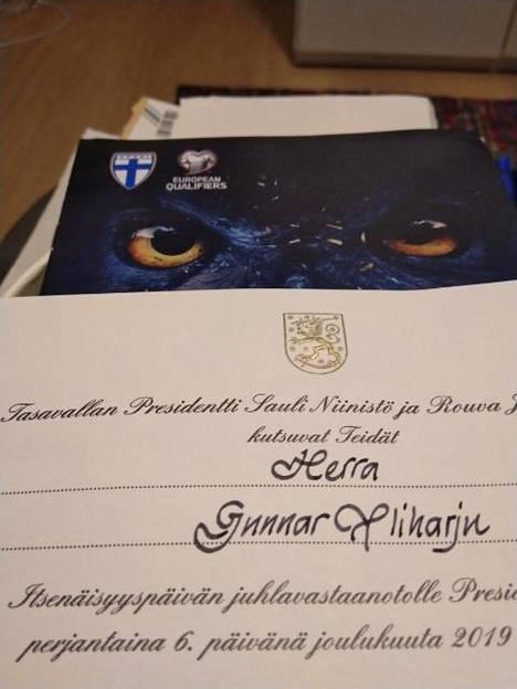 Gunnar Yliharju lähetti Ilta-Sanomille kuvan presidentiltä saamastaan kutsusta.