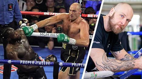 Tyson Fury (vihreät hanskat) möyhensi helmikuussa Las Vegasissa Deontay Wilderin. Robert Helenius (oikeanpuoleinen kuva) lähetti lokakuussa haasteensa Furylle.