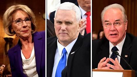 Betsy DeVos (vas.), Mike Pence ja Tom Price.