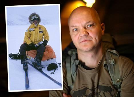 Seinäjokelainen Timo Polari on talven äärioloja eri puolilla maailmaa kokenut seikkailija, jolta löytyy vinkkejä myös harrasteliikkujille. Kuva vasemmalla: Timo Polari Etelämantereen maisemissa 2011.