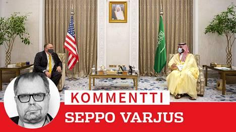 Yhdysvaltain ulkoministeri Mike Pompeo Saudi-Arabin kruununprinssi Mohammed bin Salmanin seurassa. Kaksikon väitetään tavanneen Saudi-Arabiaan matkustaneen Israelin pääministerin Benjamin Netanjahun.