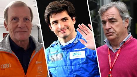 Juha Kankkunen (vas.) tuntee Sainzin moottoriurheiluperheen, rallimestari Carlos Sainzin ja tämän pojan Carlos Sainz Jr:n.