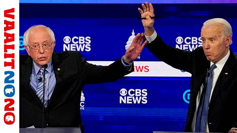 Demokraattien presidenttiehdokkuudesta kamppailevat tällä hetkellä käytännössä enää Bernie Sanders ja Joe Biden. Kuva tv-väittelystä helmikuun lopulta.