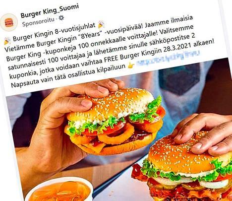 Burger Kingin nimissä tehty huijaus on jaettu Facebookissa mainoksena.