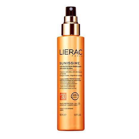 Lieracin anti-age-aurinkosuoja vartalolle suodattaa sekä lyhyet että pitkät UVB- ja UVA-säteet. Lupaa torjua infrapunavalon aiheuttamia vaurioita ja hillitä näkyvän valon vahingollisia vaikutuksia. Sisältää myös kosteuttavaa hyaluronihappoa ja ruskettumista aktivoivaa peptidiä. Sunissime Energizing protective milk SPF 30, 34,90 € / 150 ml.