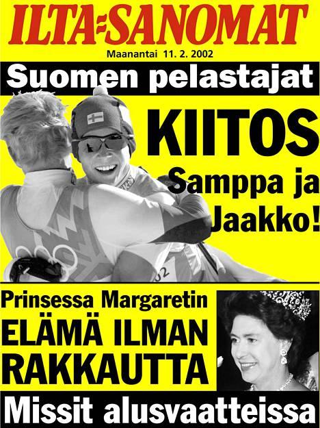 Tällainen oli Ilta-Sanomien lööppi Lajusen ja Talluksen kaksoisvoiton jälkeisenä päivänä.