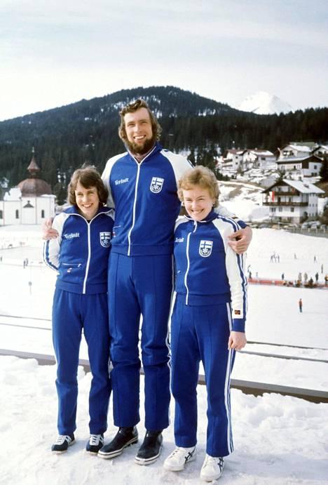 Hilkka Kuntola, Juha Mieto ja Helena Takalo vuonna 1976.